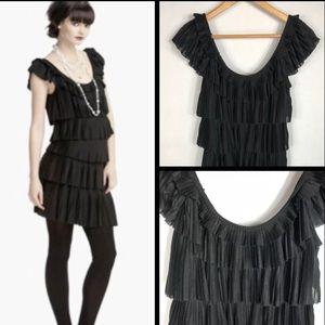 WHBM Tiered Ruffled Black Dress